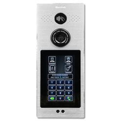 Intercom system door panel brushed metal