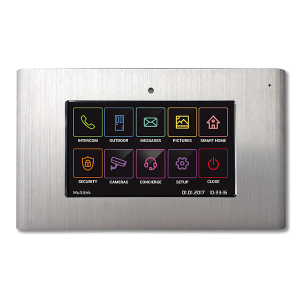 Intercom monitor door panel brushed metal